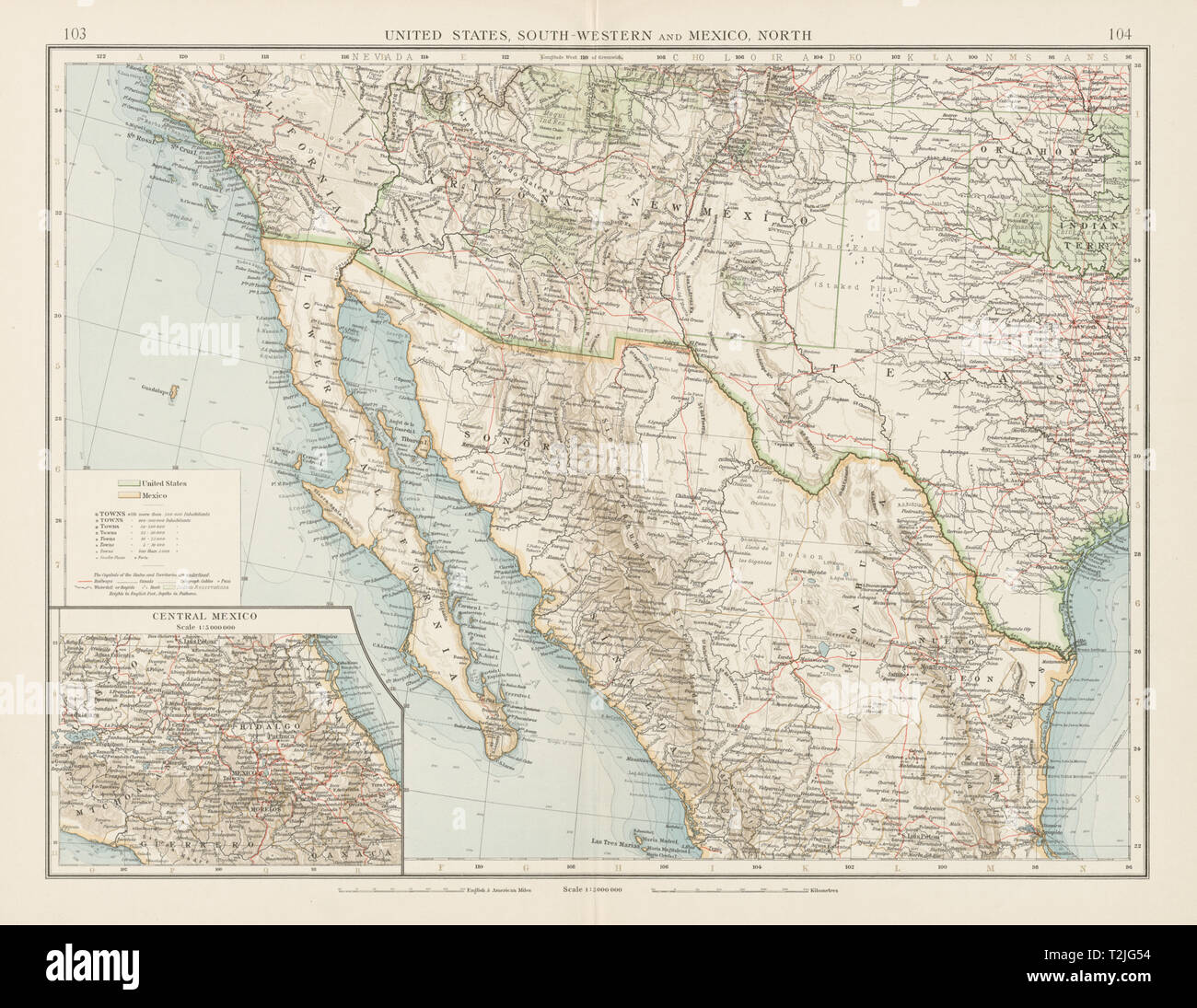 South Western United States Map Stockfotos & South Western ...