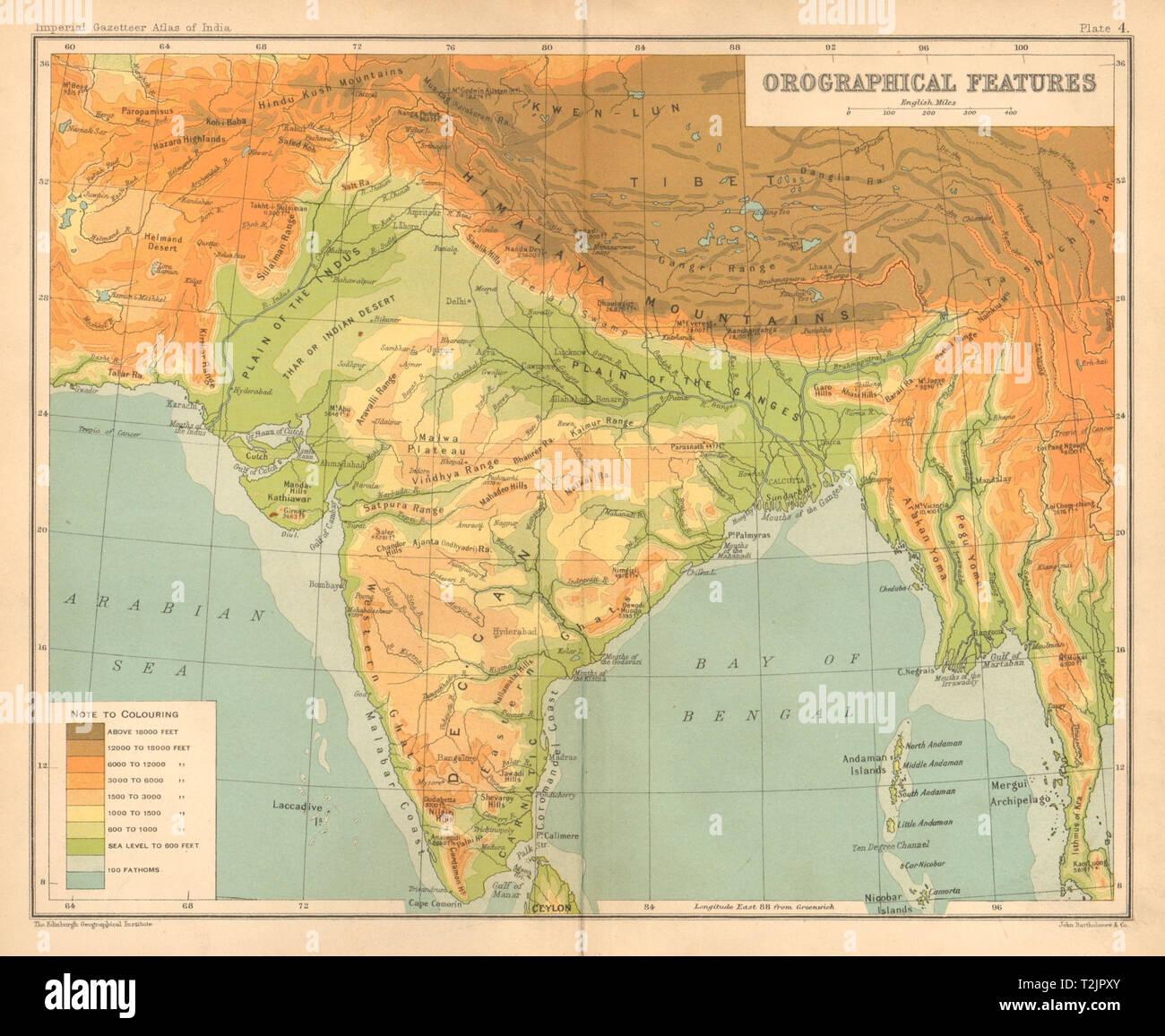 Südasien Karte.Südasien Erleichterung Indien Burma Pakistan Orographischen Verfügt