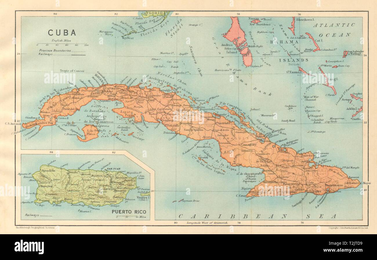 Kuba. Vintage Karte. Einfügung von Puerto Rico. West Indies ...