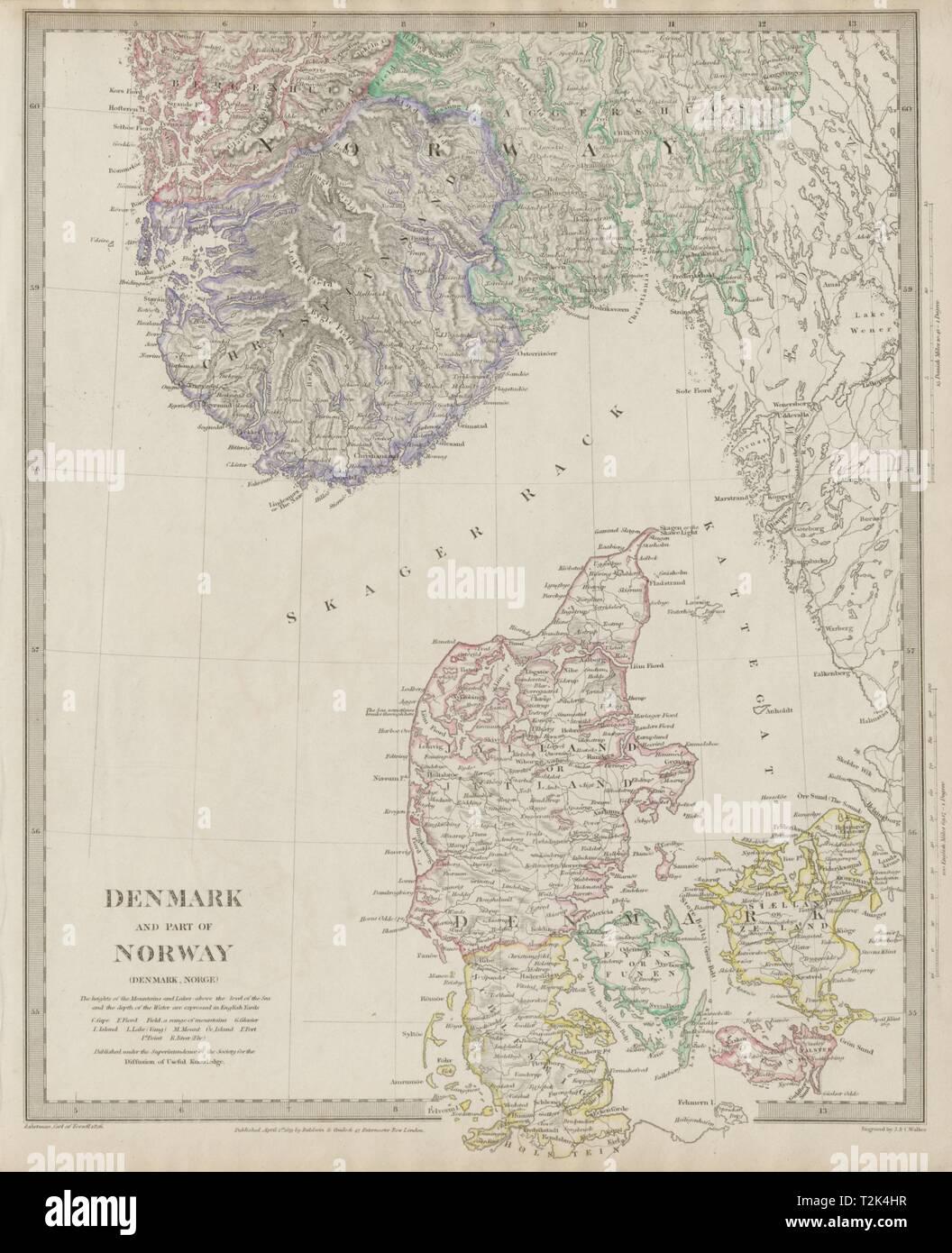 Karte Südnorwegen.Skandinavien Dänemark Und Südnorwegen Norge Sduk 1844 Alte