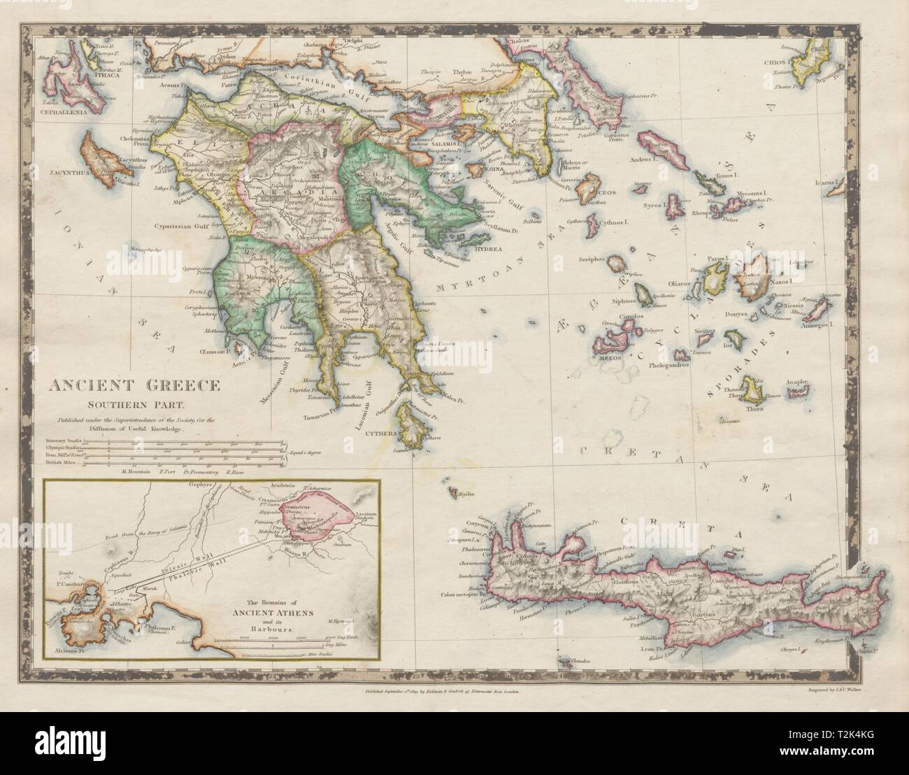 Peloponnes Karte.Antike Griechenland Morea Creta Athen Peloponnes Kykladen Arcadia