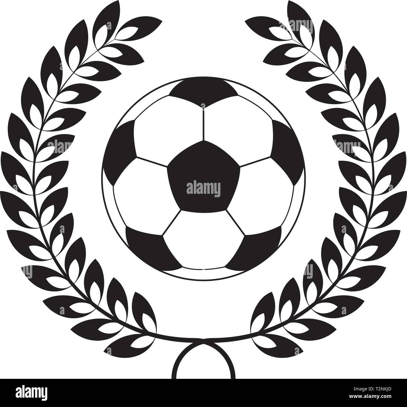 Fussball Symbol Im Lorbeerkranz Vector Illustration Vektor