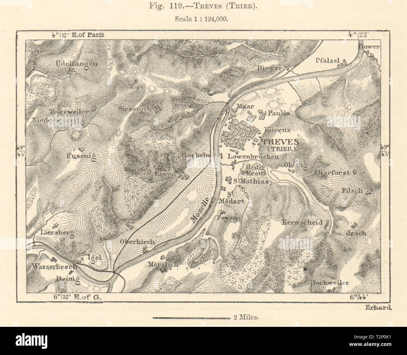 Trier Karte Umgebung.Trier Trier Umgebung Rheinland Pfalz Mosel Kartenskizze 1885