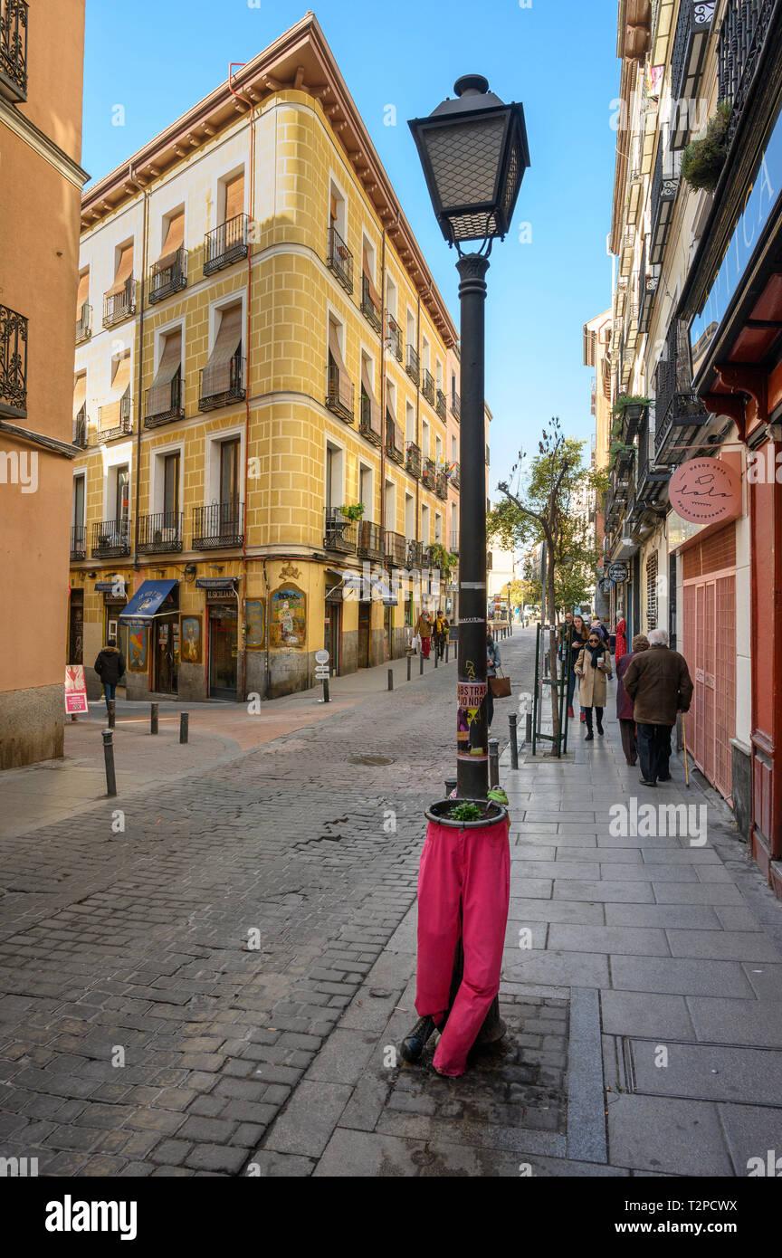 Street Scene mit alternativen Anlagen Behälter, in der Malasaña Viertel von Madrid, Spanien. Stockbild