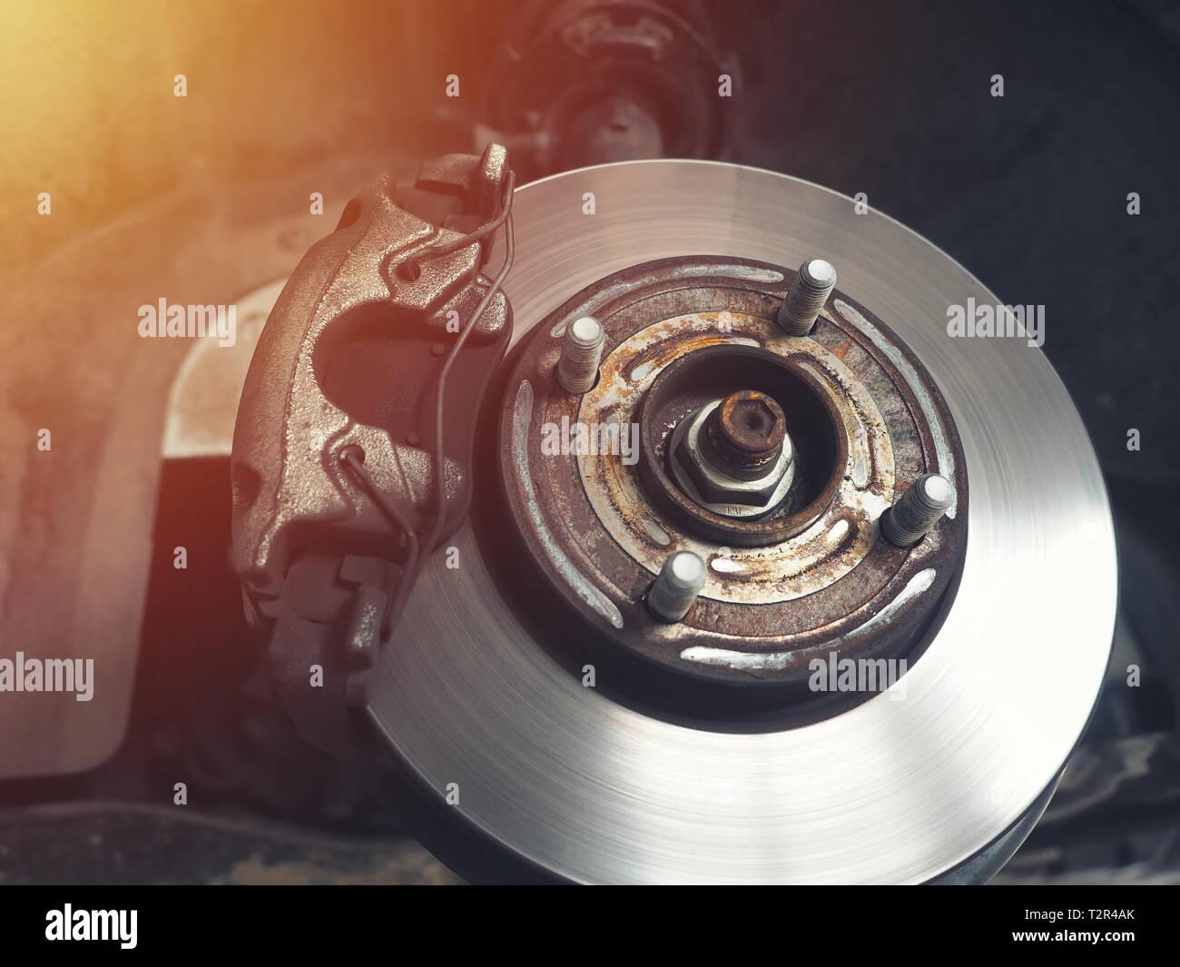 Auto Bremsscheibe ohne Räder closeup Stockfoto