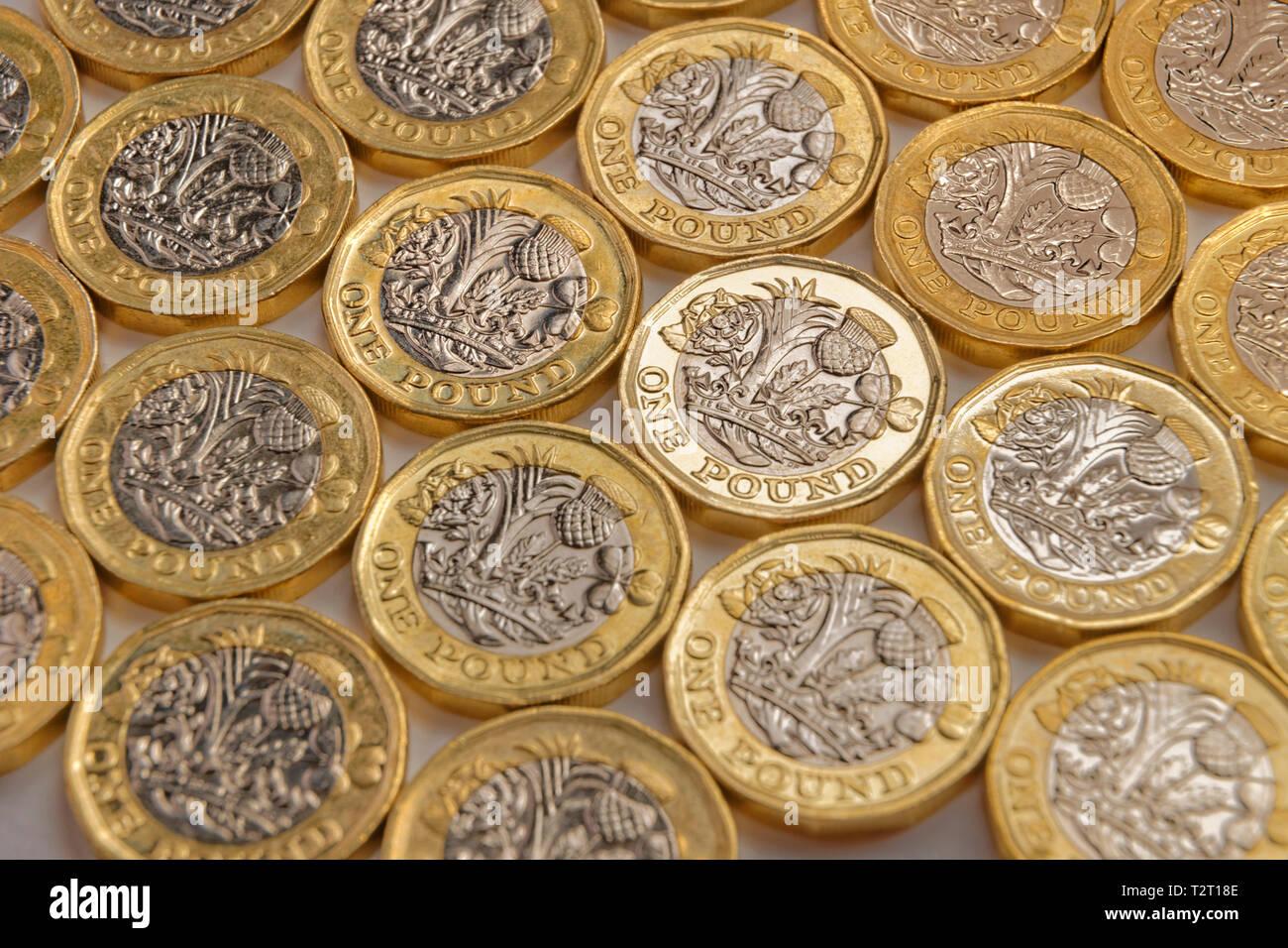 Britisches Pfund Münzen. Stockbild