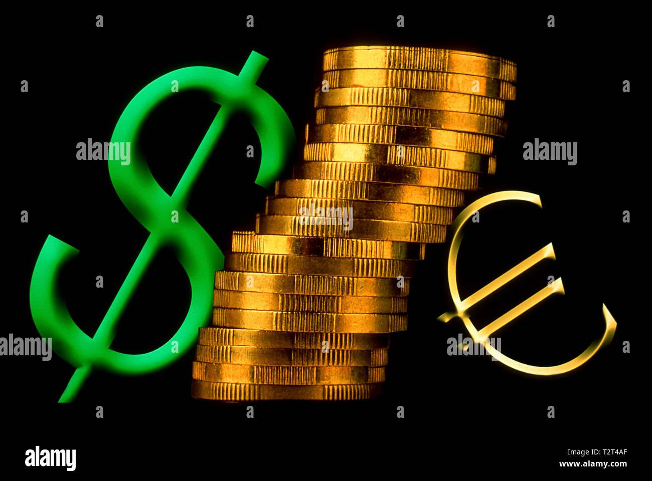 Symbolischen Euro Zeichen und Dollarzeichen Stockbild