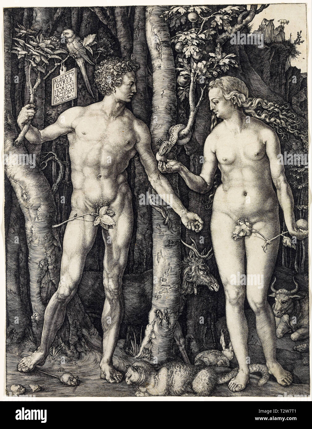 Albrecht Dürer, Adam und Eva, Kupferstich, 1504 Stockbild