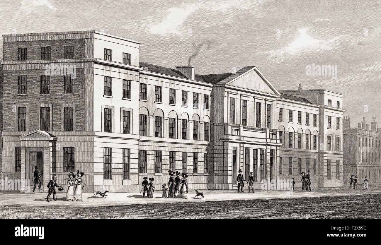 College der London Missionary Society, London, Illustration von Th. H. in der Hirte, 1826 Stockbild