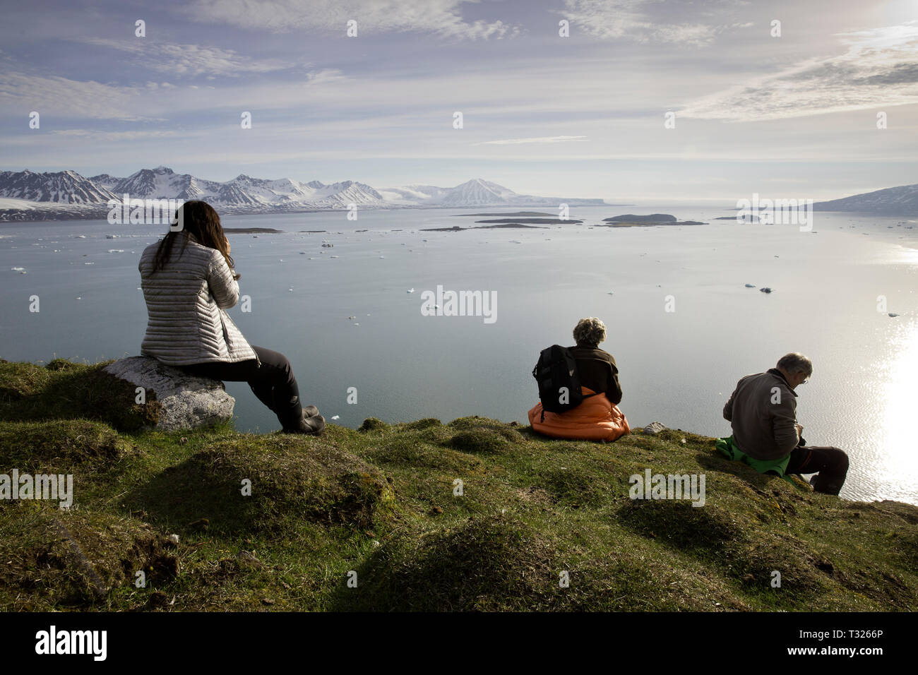 Touristen, Panorama, Spitzbergen, Arktis, Norwegen Stockbild
