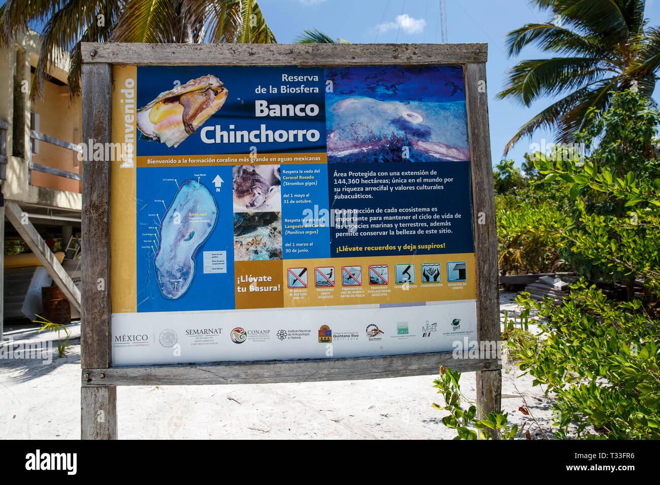 Bei Banken, Banco Chinchorro Chinchorro, Karibik, Mexiko Willkommen Anmelden Stockbild
