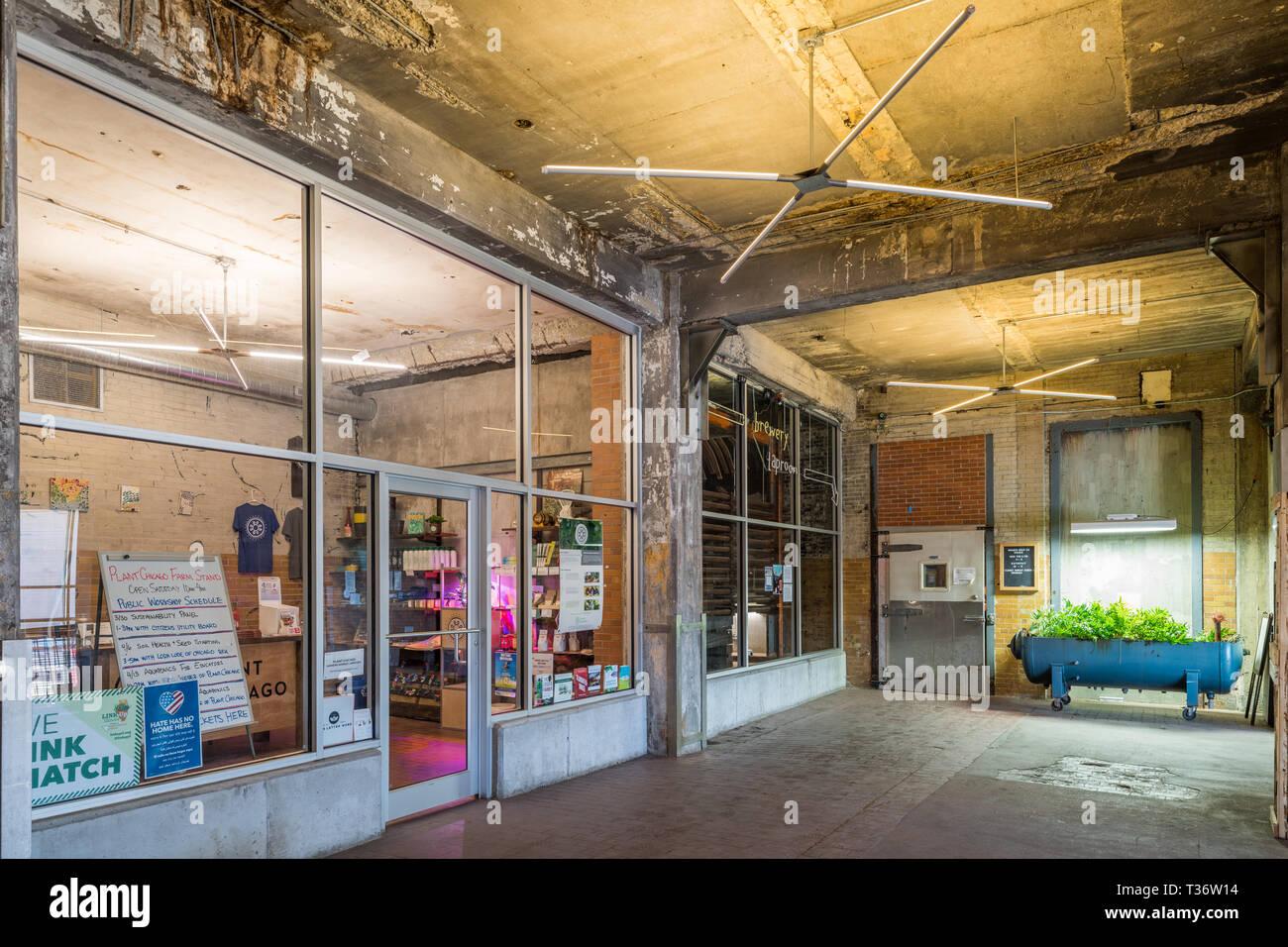 Werk Chicago, ehemaliger meatpacking Service in eine vertikale Farm und nachhaltige Business Complex umgewandelt Stockbild