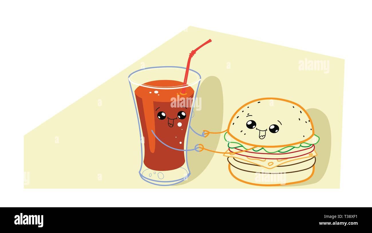 Cute Hamburger Mit Tomatensaft Cartoon Comic Lächelnde Gesichter