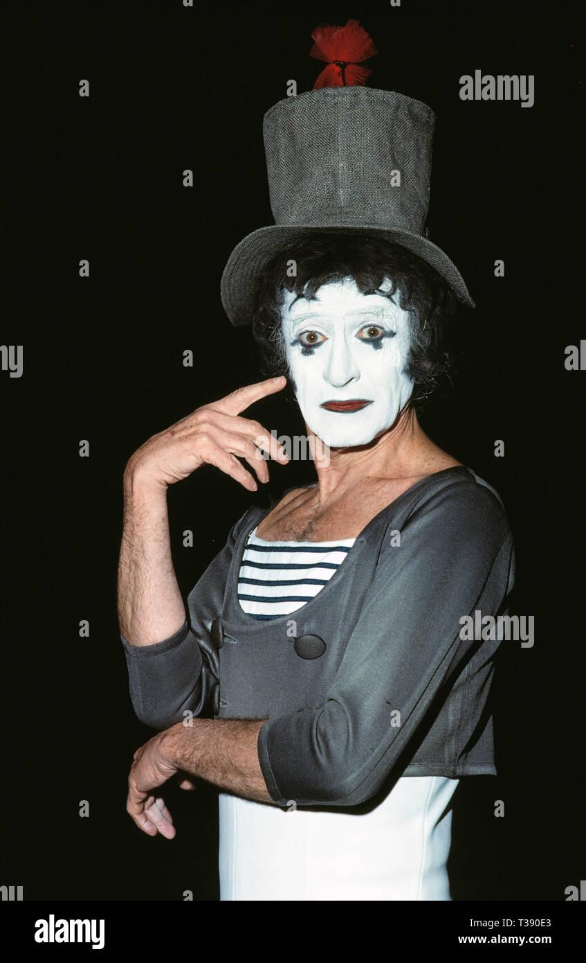 Berühmtheit. Entertainer. Marcel Marceau (1923 - 2007). 80er Jahre Stockbild