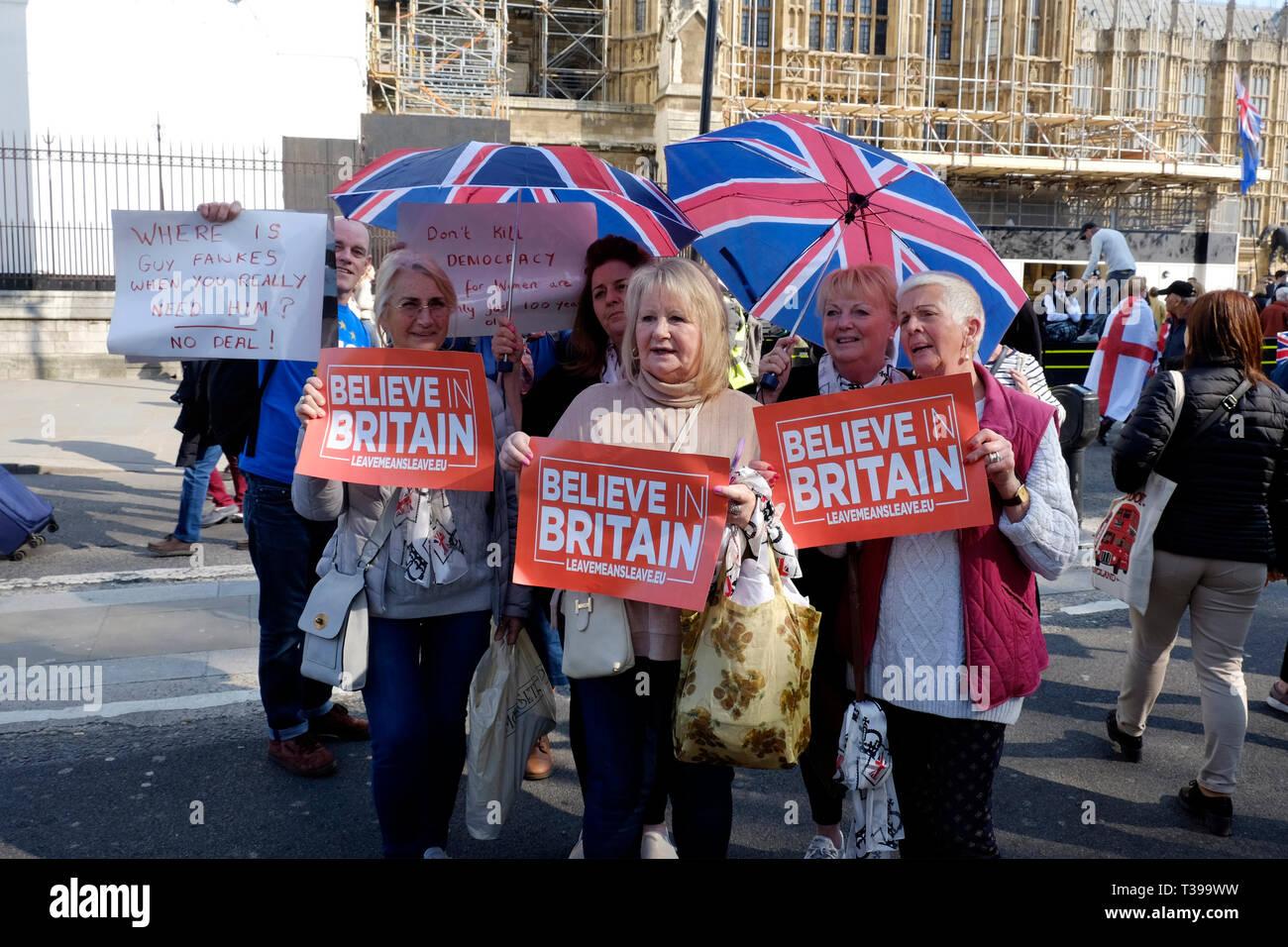 Pro brexit Demonstranten in Central London, UK Stockbild