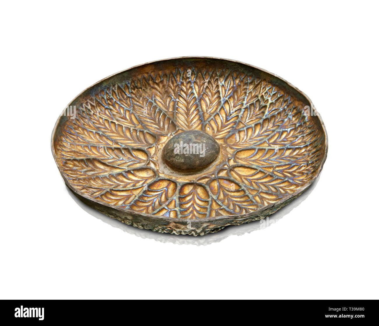 Etruskische geprägte Silber phiale oder Patera, oder Wein trinken Schüssel, Ende des 4. Jh. v. Chr. inv 132265, Nationale Archäologische Museum Florenz, Italien Stockbild