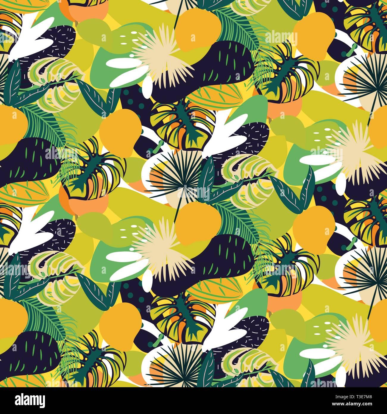 Tropische Früchte nahtlose saftige Muster. Grün hell abstrakte Textur vektor Hintergrund. Stock Vektor