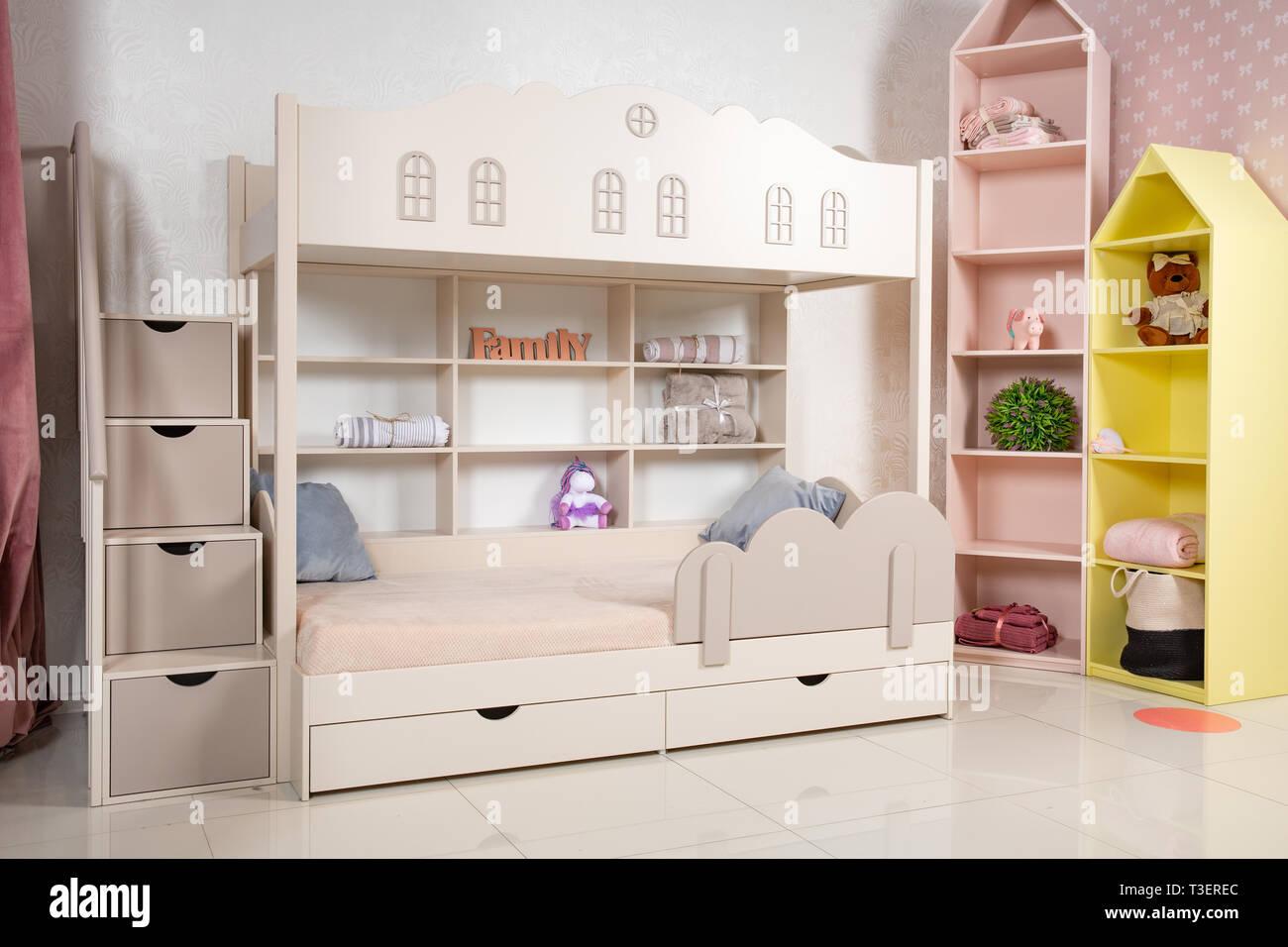 Innenraum Der Kinderzimmer Mit Etagenbett Unisex Zimmer Für Zwei