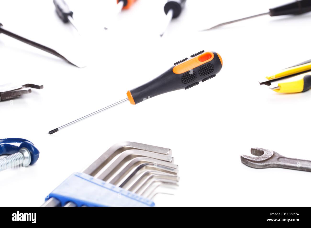 Bild von Werkzeugen mit Schraubendreher Stockfoto