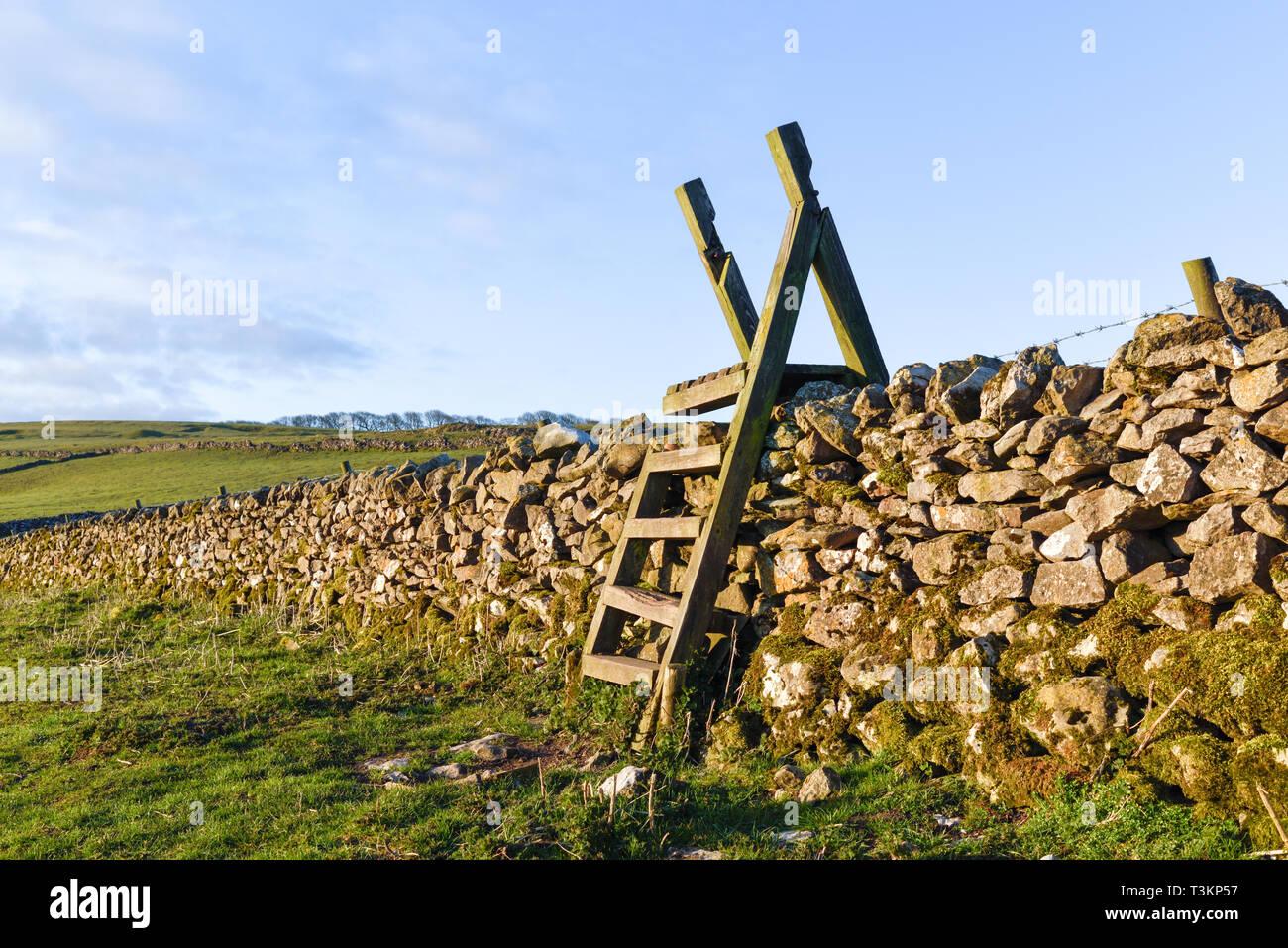 Eine Leiter zauntritte Überqueren einer Trockenmauer in Derbyshire, Großbritannien. Stockfoto
