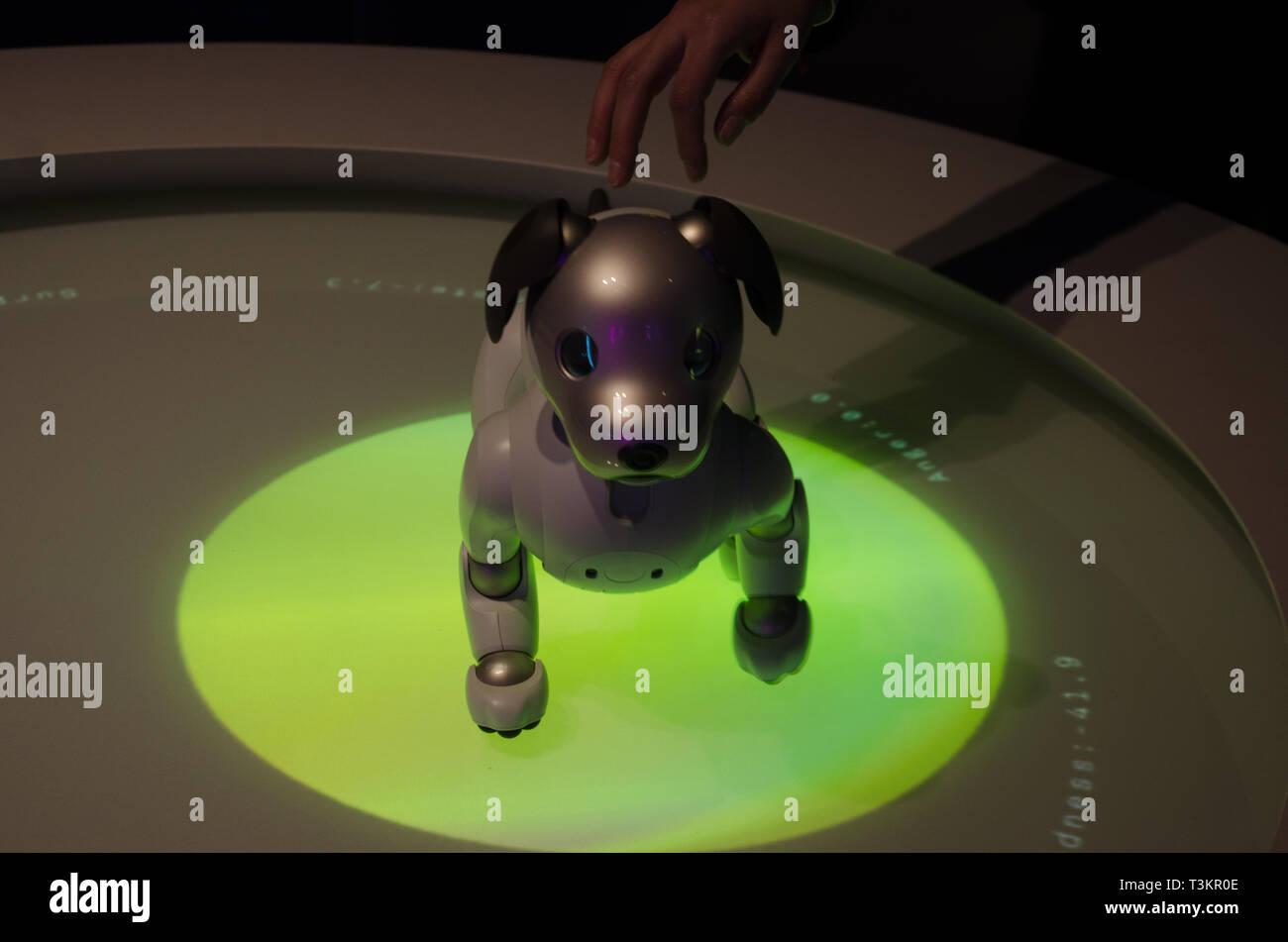 Sony mit Affinität in die Autonomie Fuorisalone 2019 und AIBO Roboter Hund. Mailand, 8. April, 2019 Stockbild