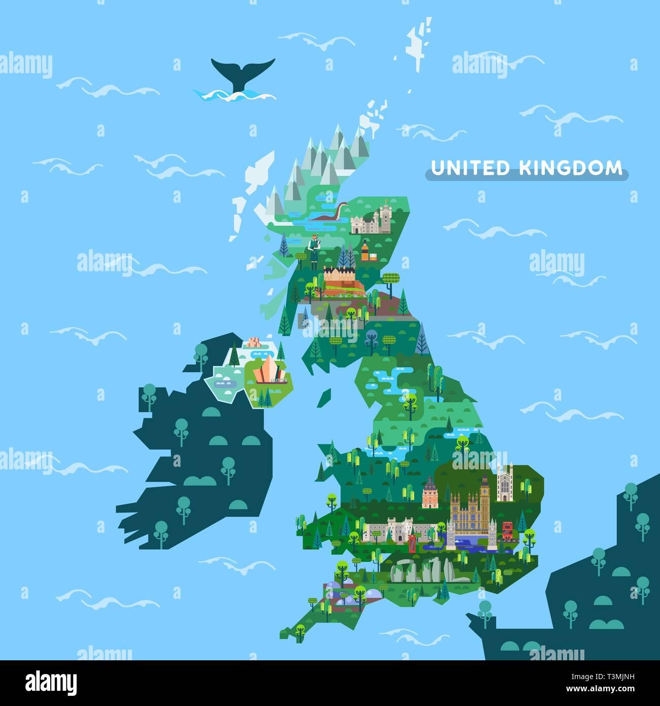 Sehenswürdigkeiten Großbritannien Karte.England Großbritannien Karte Mit Berühmten Sehenswürdigkeiten