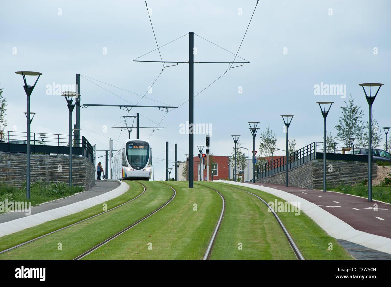 Angers, moderne Straßenbahn, Durchfahrt Institut de Biologie de Santé, CHU Angers Angers, moderne Straßenbahn, Passage Institut de Biologie de Santé, CHU Stockbild