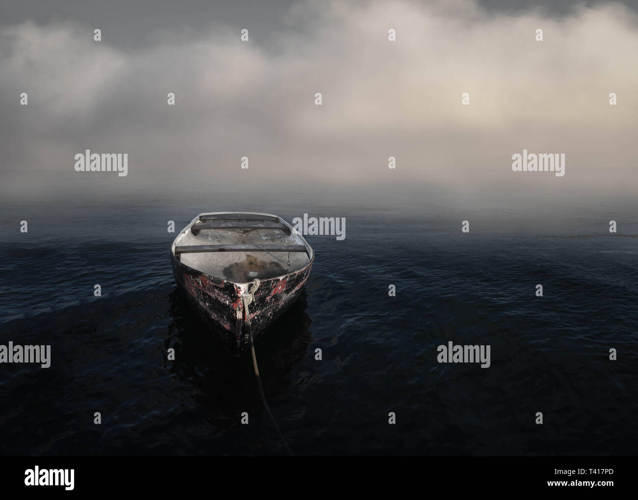 Boot vertäut im Ozean in den frühen Morgennebel, United States Stockbild