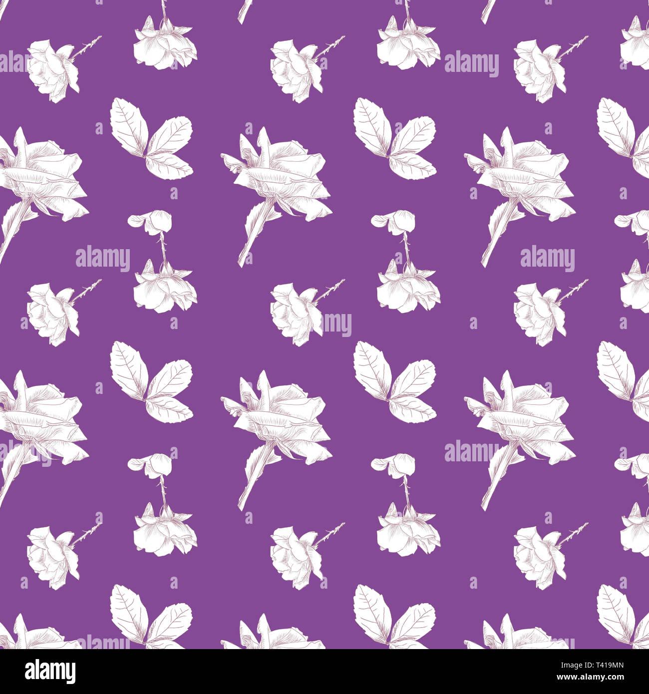 Muster der Hand Rosen in Weiß mit einem farbigen Hintergrund berry_1500 x 1500 wiederholen__ durch jziprian gezeichnet Stockbild