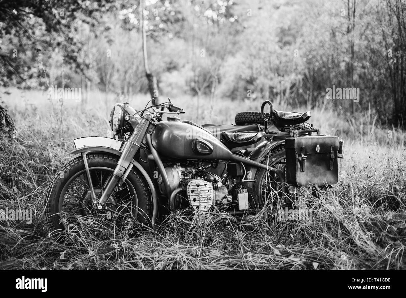 Wehrmacht Farben.Alte Tricar Three Wheeled Motorrad Der Wehrmacht Die
