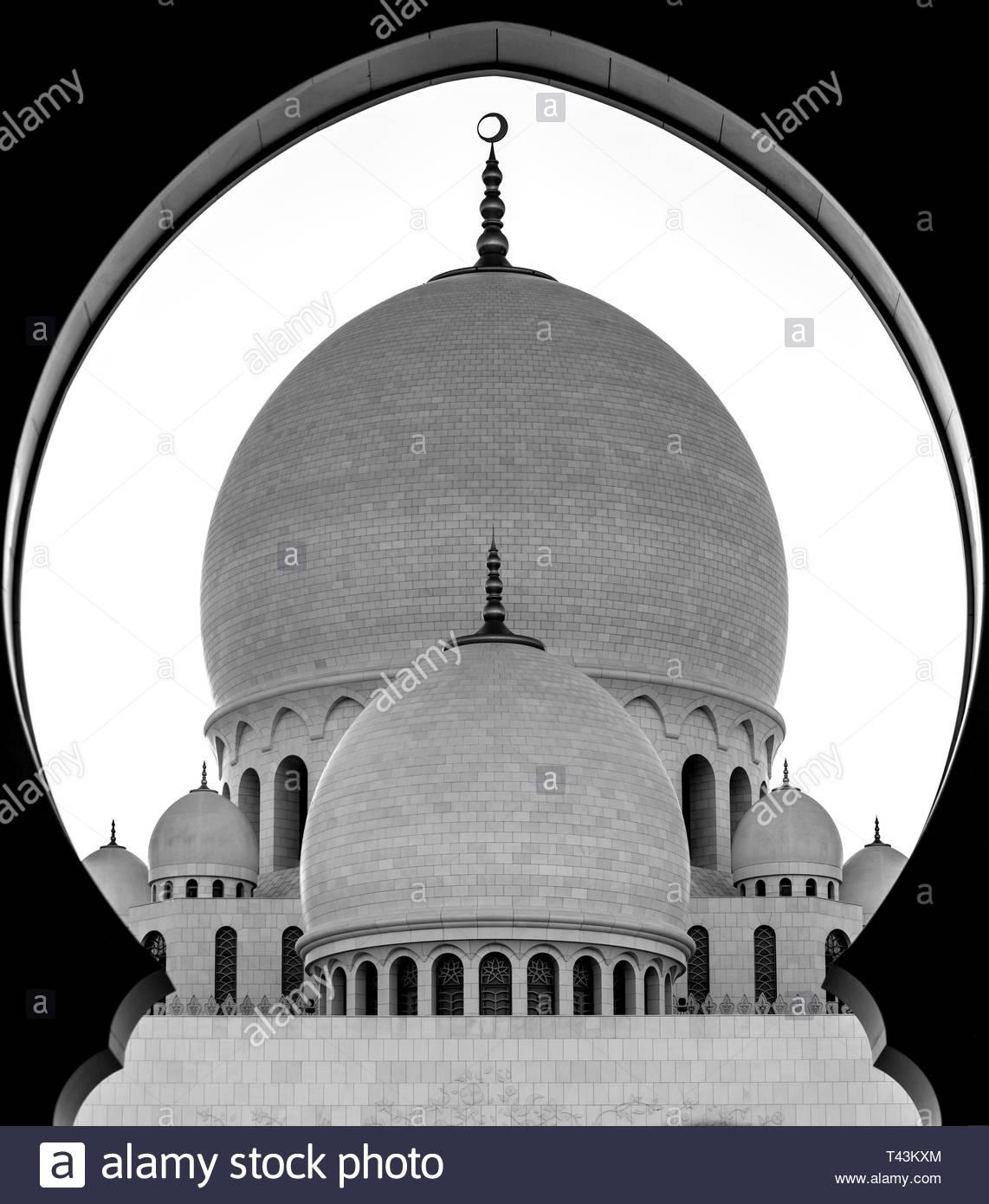 Graustufen Foto von Moschee Stockbild