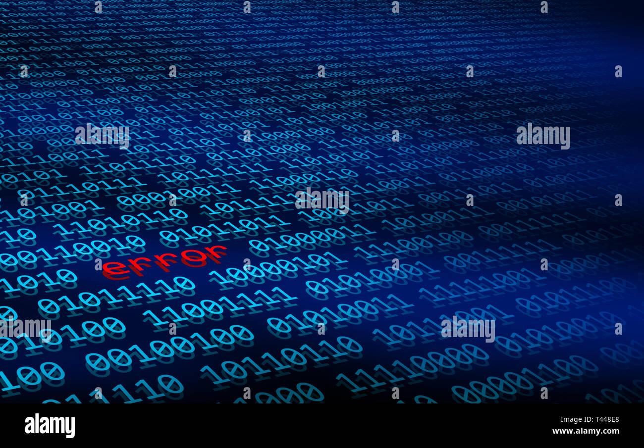 Abbildung: Bytes binärer Daten des Steuergeräts mit einem Fehler im Datenstrom. Fehler im Computer code Konzept. Beschädigung der Daten. Beschädigte Daten. Stockbild