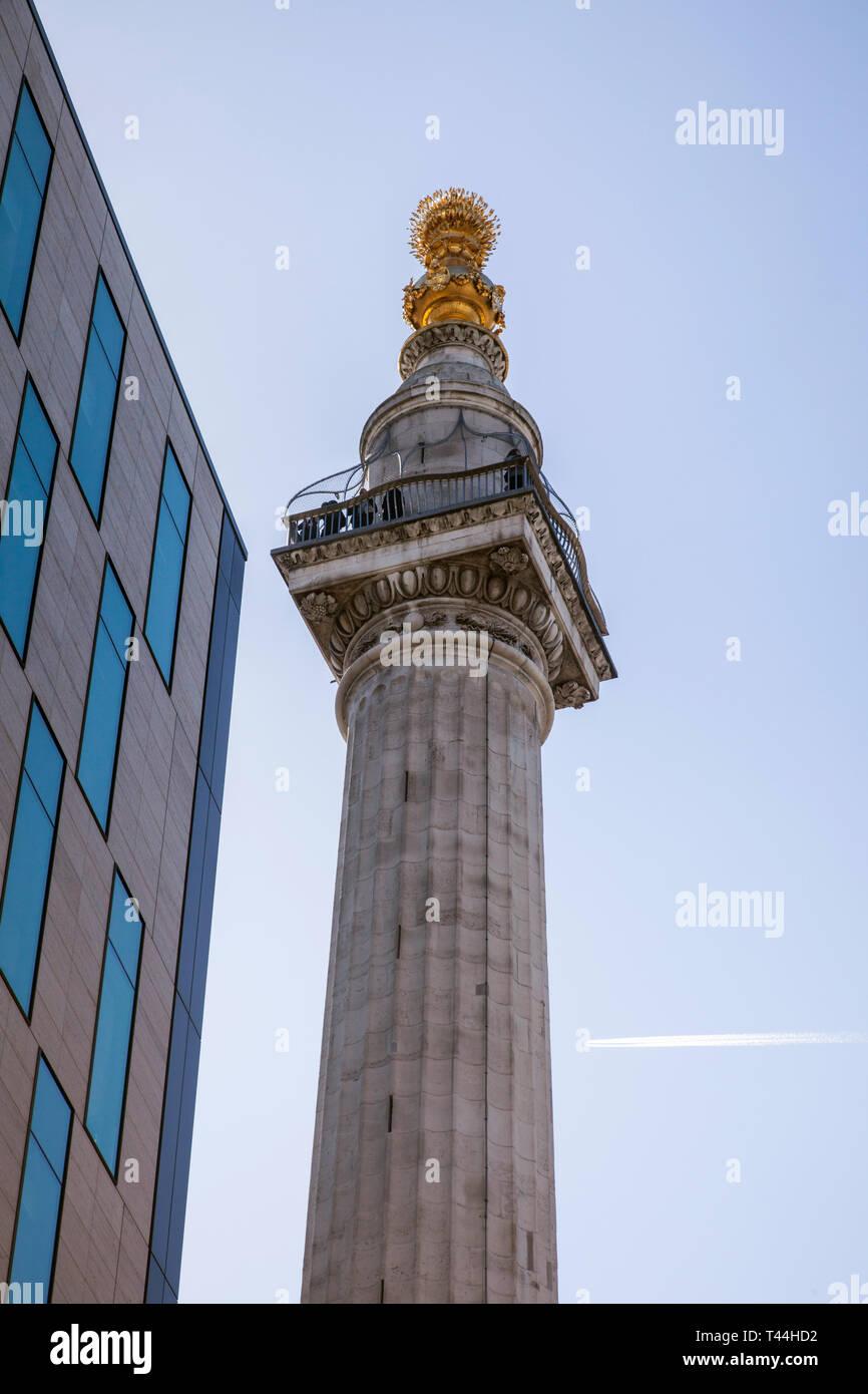 Das Denkmal für den großen Brand von London, London, England, Vereinigtes Königreich. Stockbild