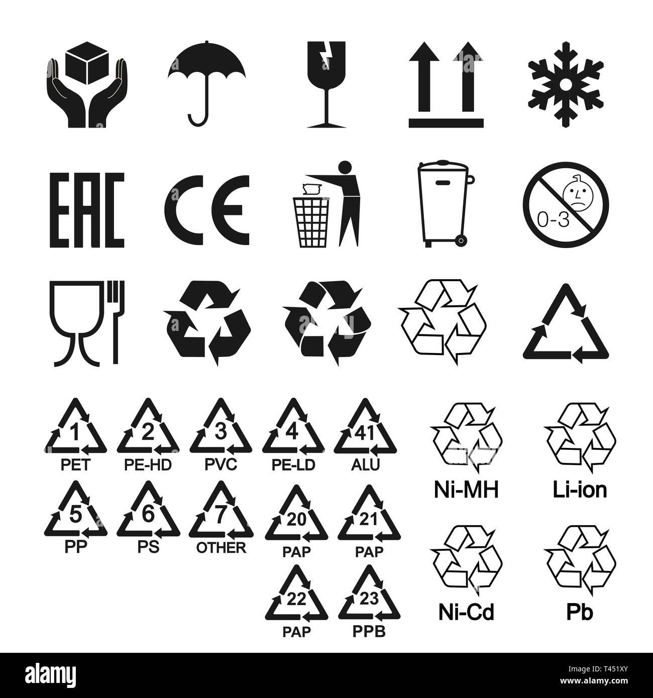 Verpackung Symbole, Zeichen gesetzt. Vector Illustration, flache Bauform Vektor Abbildung - Bild