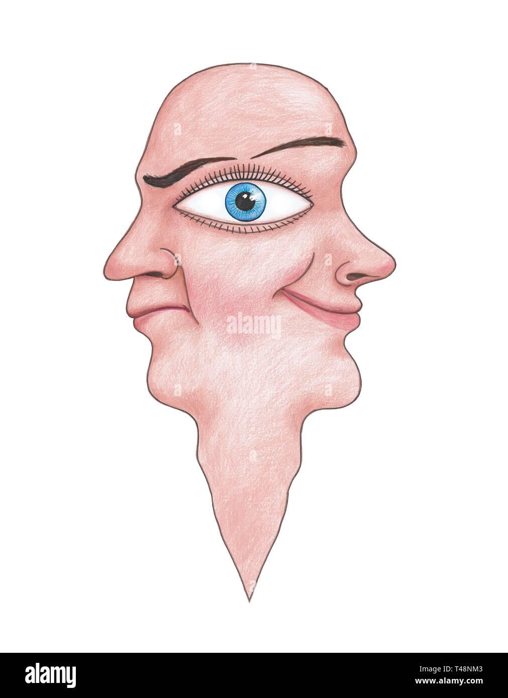 Karikatur mit gesichtern mann der 2 den der Mann