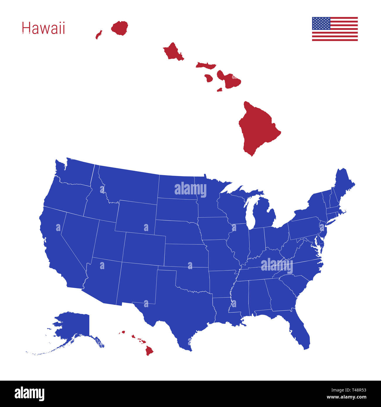 Hawaii Ist Rot Markiert Blaue Karte Der Usa Eingeteilt In