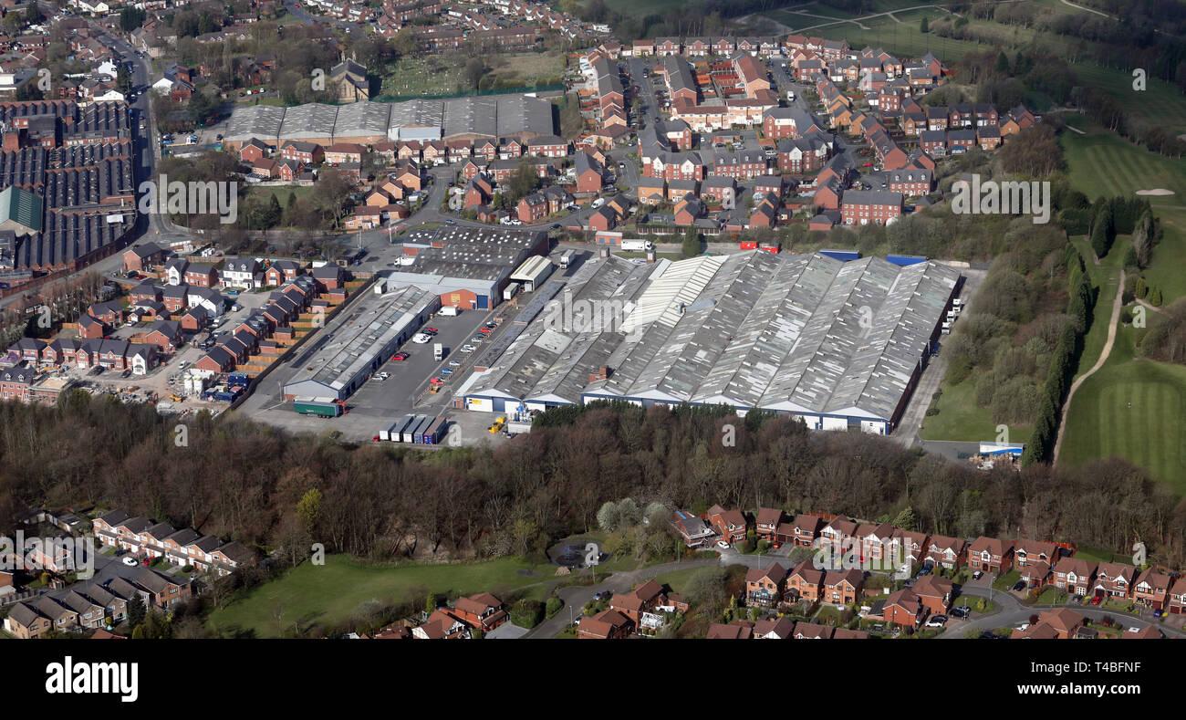Luftaufnahme von Osten zähmen Business Park, Hyde, Manchester Stockbild