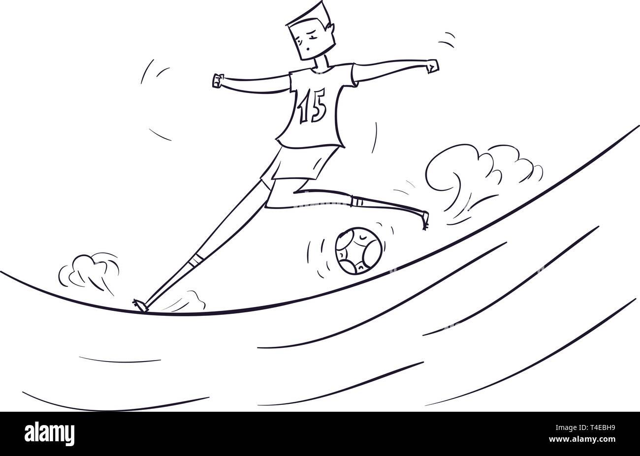 Hand Gezeichnet Cartoon Lauft Fussball Spieler Mit Ball