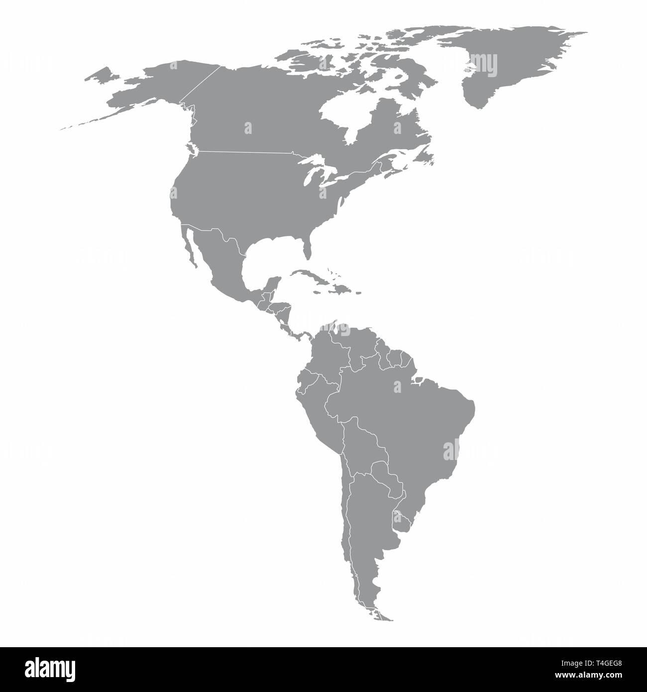 Nord Und Sudamerika Karte Vektor Abbildung Bild 243766440 Alamy