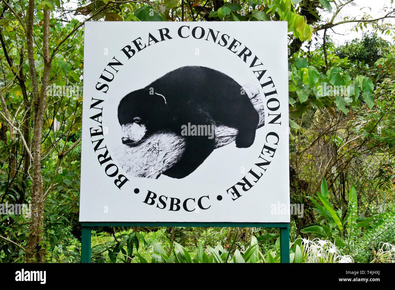 Schild am Eingang der Bornesischen Sun Bear Conservation Centre, Sandakan, Sabah (Borneo), Malaysia Stockfoto