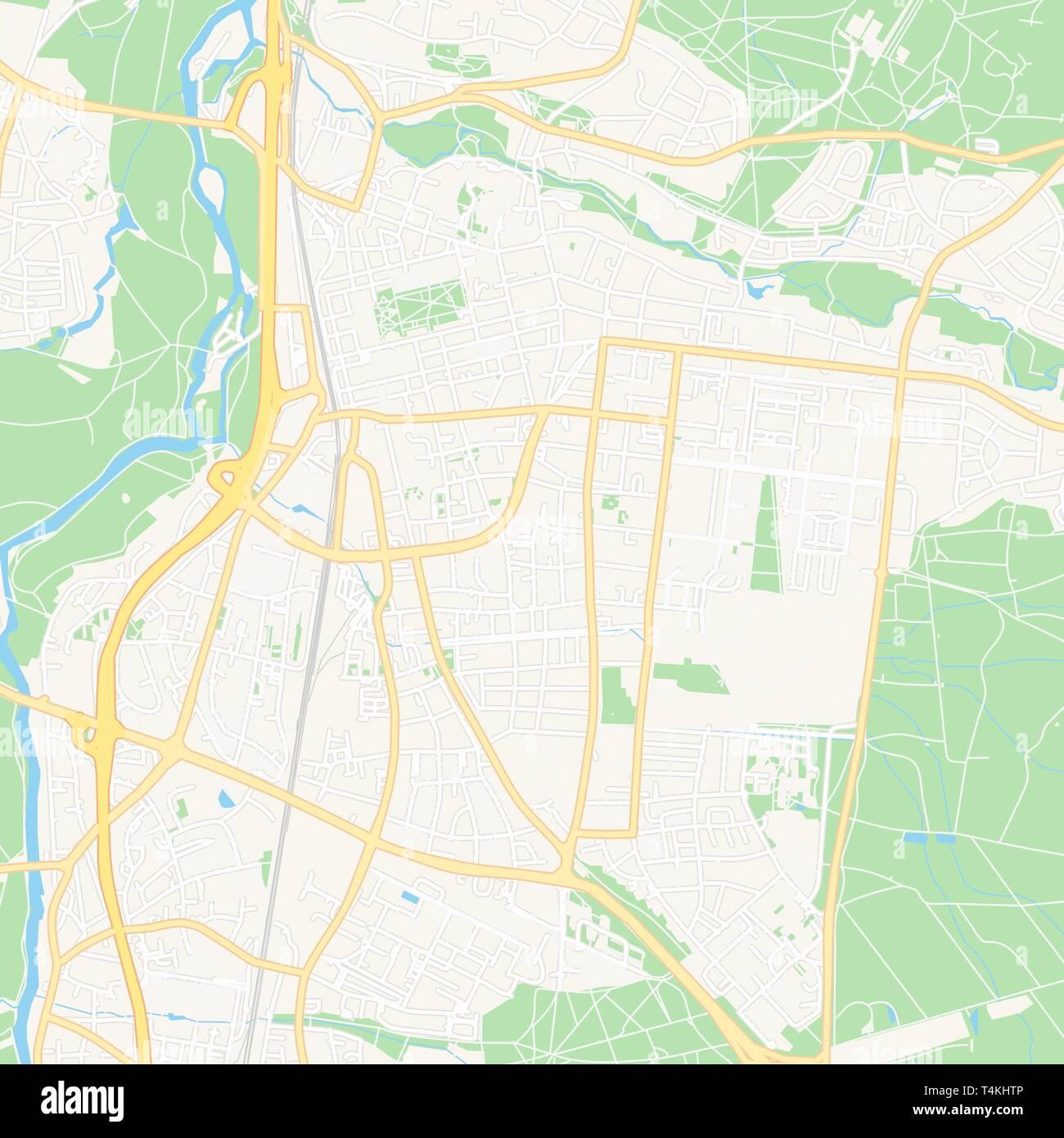 Druckbare Karte Von Erlangen Deutschland Mit Haupt Und