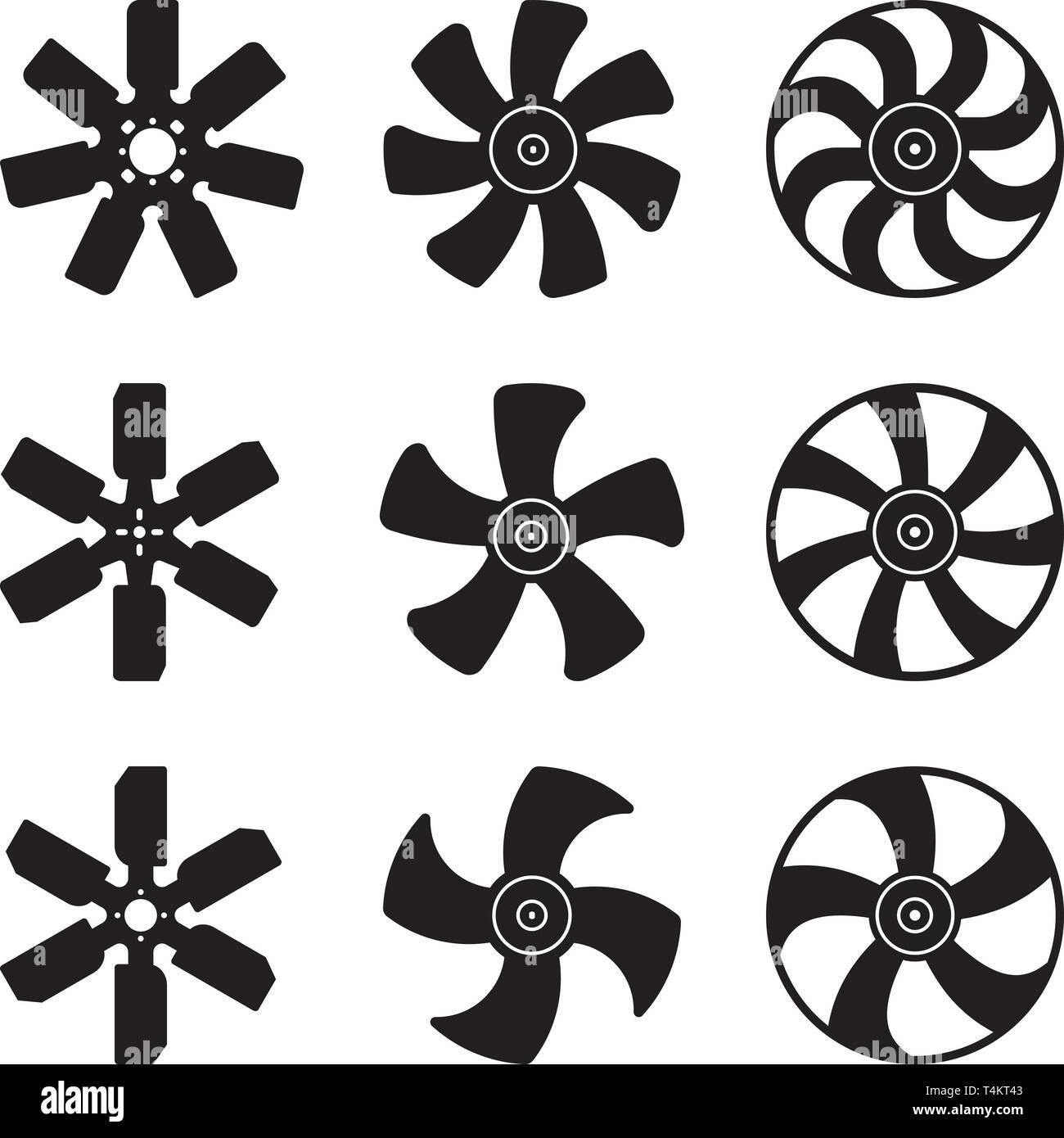 Kühler Lüfter blade Symbole gesetzt. Auto Teile. Silhouette Vektor Stockbild