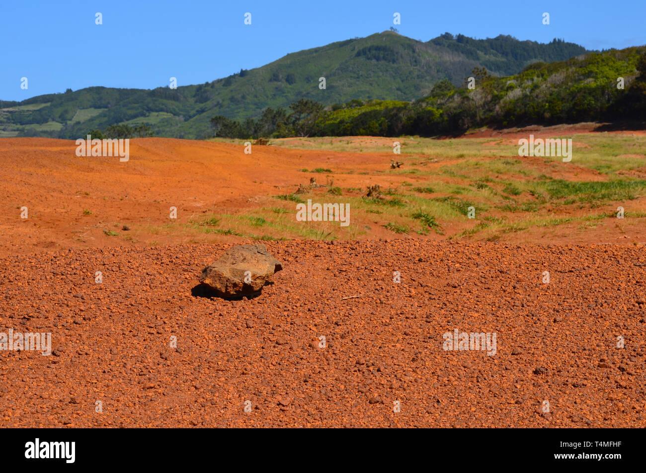 Barreiro da Faneca geschützte Landschaft in Santa Maria Island, Azoren Stockbild