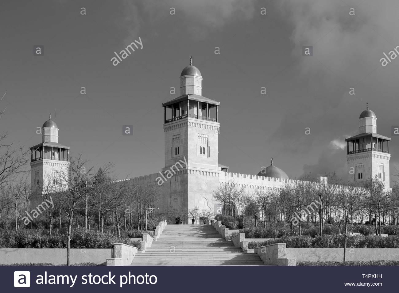 Schwarzweiß-Fotografie der Moschee Stockbild