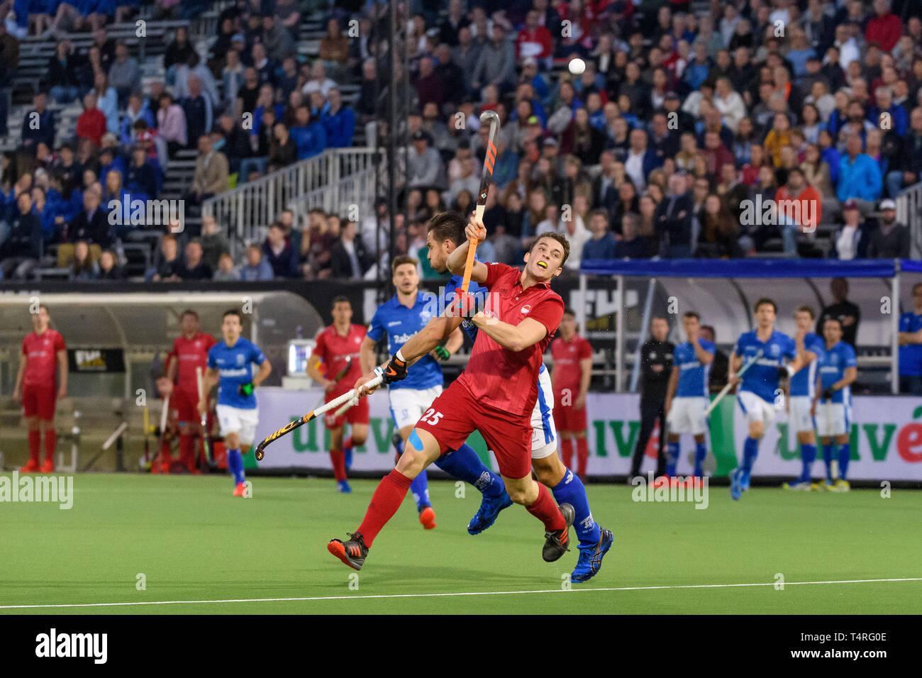 EINDHOVEN, 18-04-2019, Euro Hockey League 2019. Veranstaltungsort: HC Oranje-Rood. Eric Knobling während des Spiels SV Kampong vs Rot-Weiss Köln. Stockbild