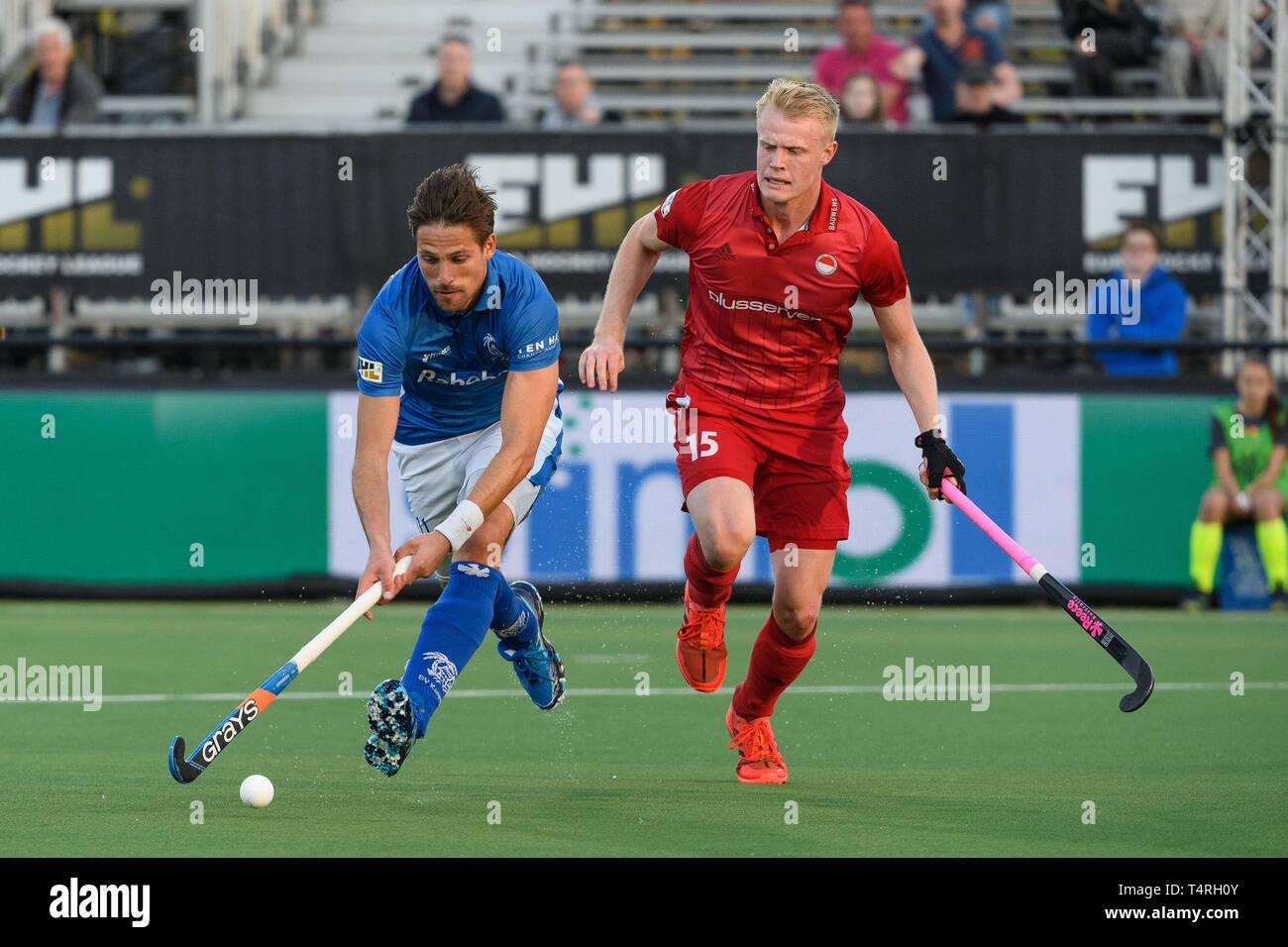 EINDHOVEN, 18-04-2019, Euro Hockey League 2019. Veranstaltungsort: HC Oranje-Rood. Während des Spiels SV Kampong vs Rot-Weiss Köln. Stockbild