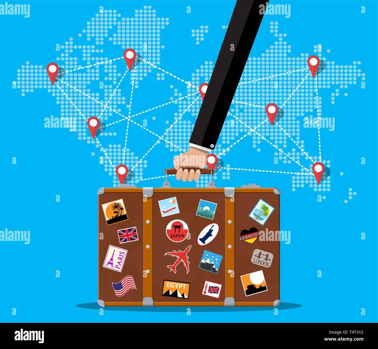 Reisekoffer Mit Aufklebern Der Gebiete Und Stadte Auf Der Ganzen