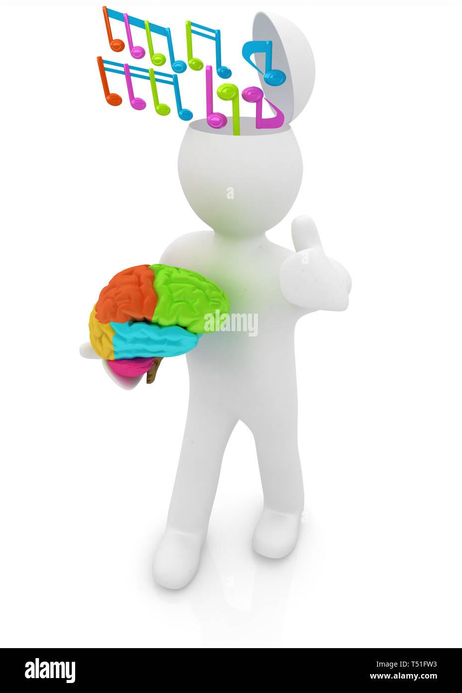 3D-Menschen - Mann mit halben Kopf, Gehirn und trumb. Сomposer Konzept mit bunte Hinweis Stockfoto
