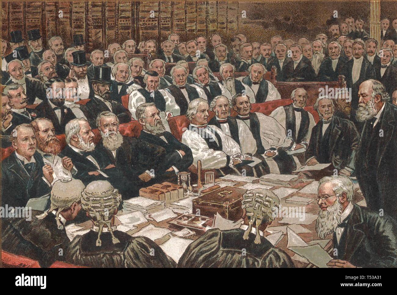 Marquis von Salisbury (1830-1903) ganz rechts im Rahmen einer parlamentarischen Debatte über irische Home Rule 1900 Stockbild