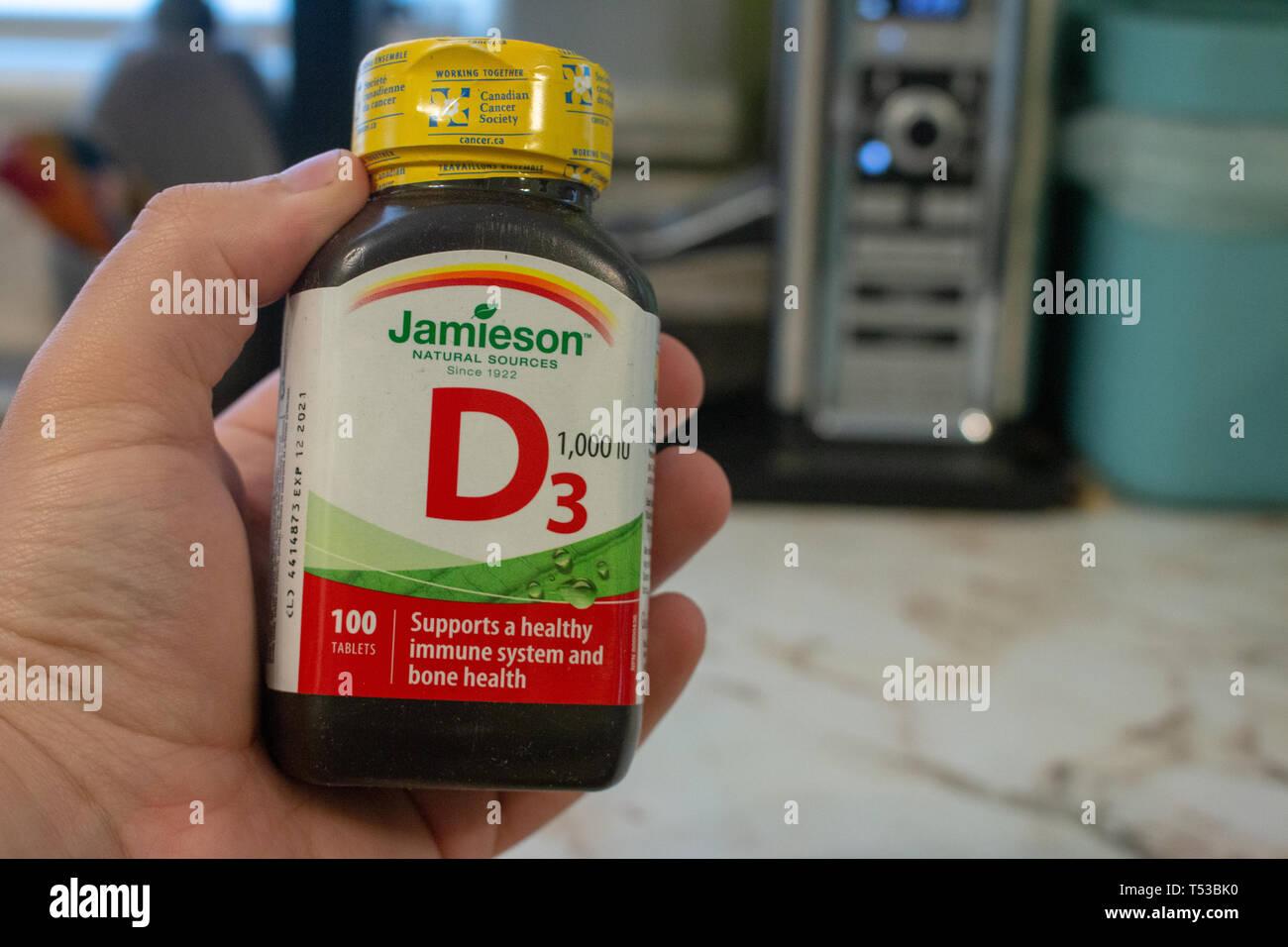 London, Kanada, 20. April 2019: Editorial illustrative Foto, Vitamin D3 Ergänzung von Jamieson. Jamieson ist eine kanadische Vitamin- und Mineralstoffgehalt Stockbild